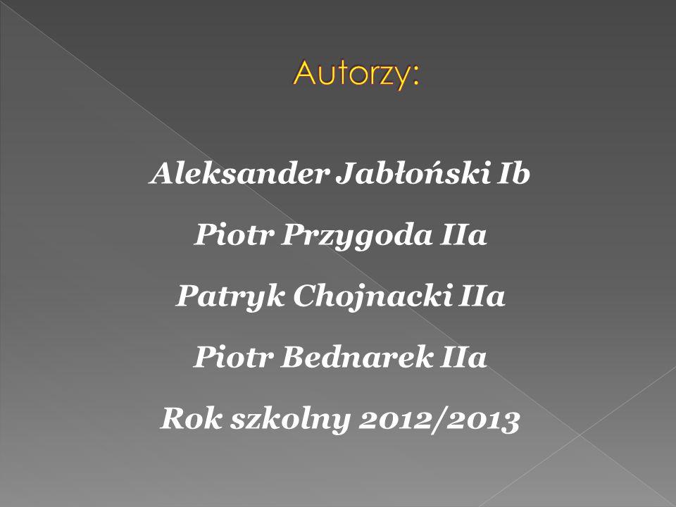Autorzy: Aleksander Jabłoński Ib Piotr Przygoda IIa Patryk Chojnacki IIa Piotr Bednarek IIa Rok szkolny 2012/2013