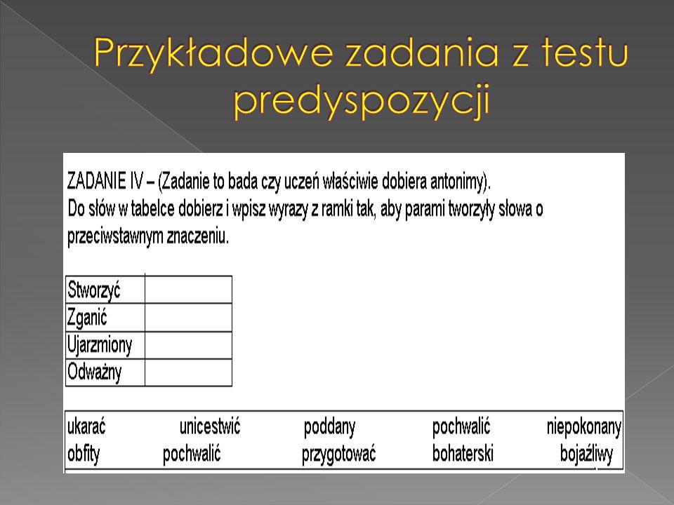 Przykładowe zadania z testu predyspozycji