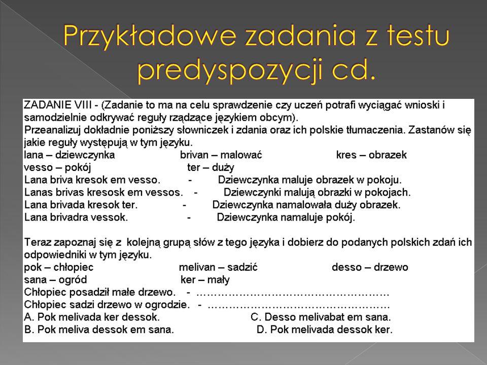 Przykładowe zadania z testu predyspozycji cd.