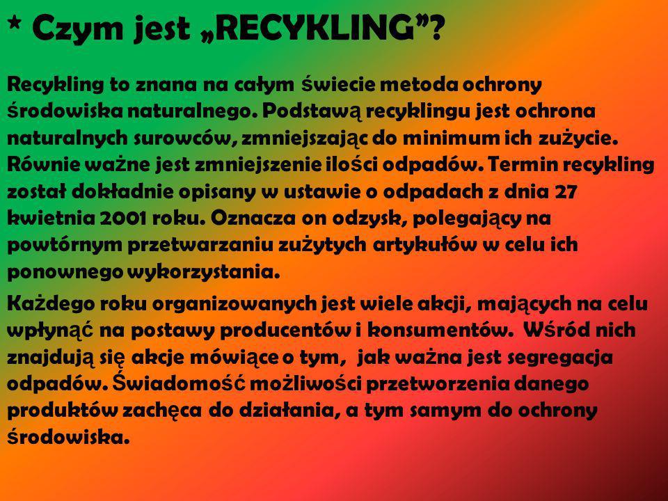 """* Czym jest """"RECYKLING"""