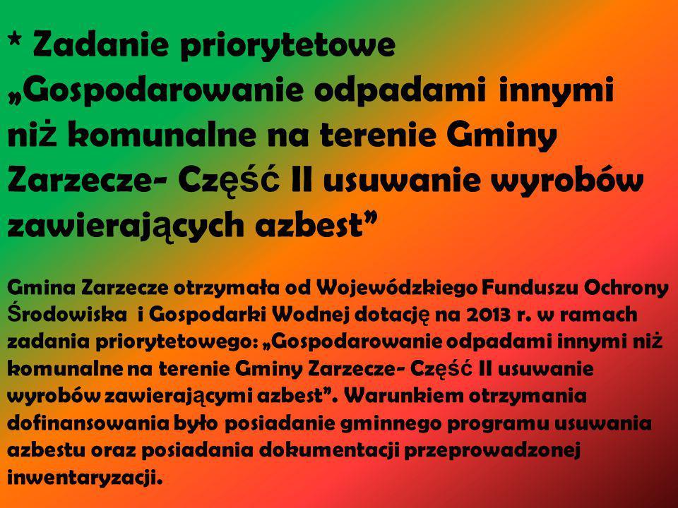 """* Zadanie priorytetowe """"Gospodarowanie odpadami innymi niż komunalne na terenie Gminy Zarzecze- Część II usuwanie wyrobów zawierających azbest Gmina Zarzecze otrzymała od Wojewódzkiego Funduszu Ochrony Środowiska i Gospodarki Wodnej dotację na 2013 r."""
