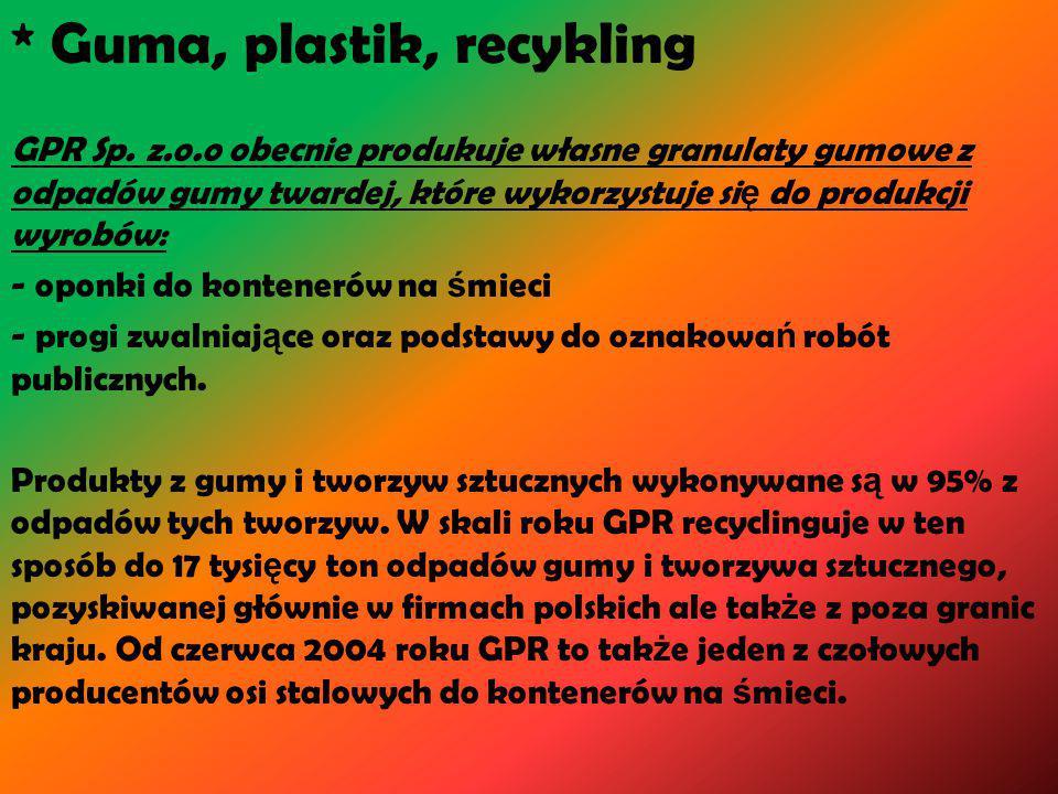 * Guma, plastik, recykling