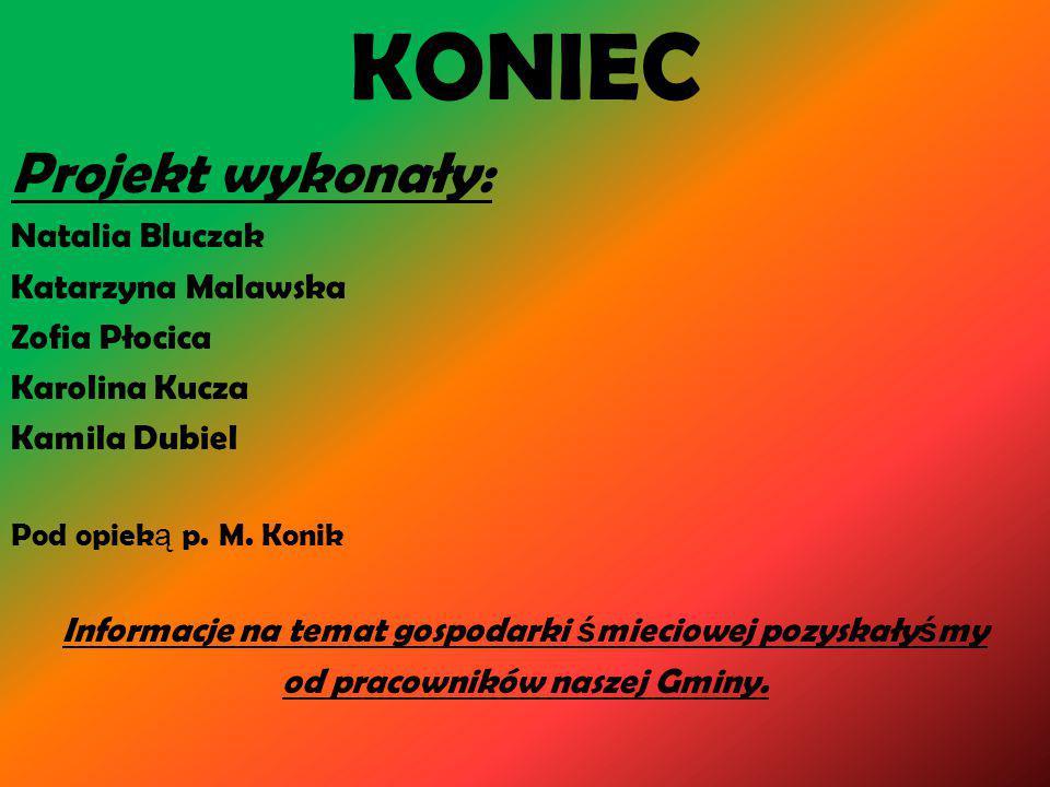 KONIEC Projekt wykonały: Natalia Bluczak Katarzyna Malawska
