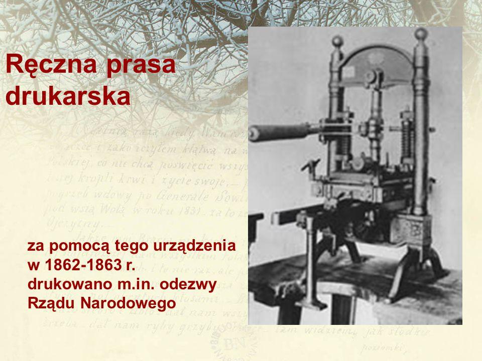 Ręczna prasa drukarska za pomocą tego urządzenia w 1862-1863 r.