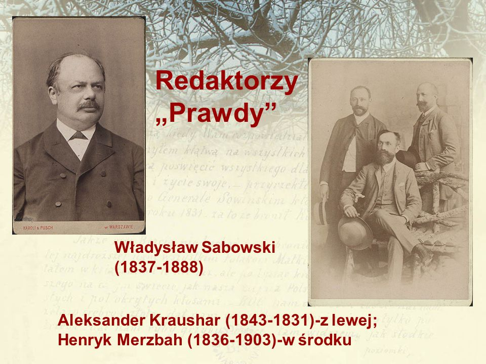 """Redaktorzy """"Prawdy Władysław Sabowski (1837-1888)"""