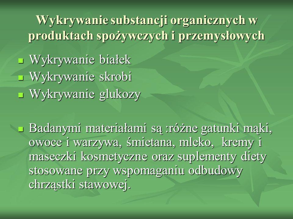 Wykrywanie substancji organicznych w produktach spożywczych i przemysłowych