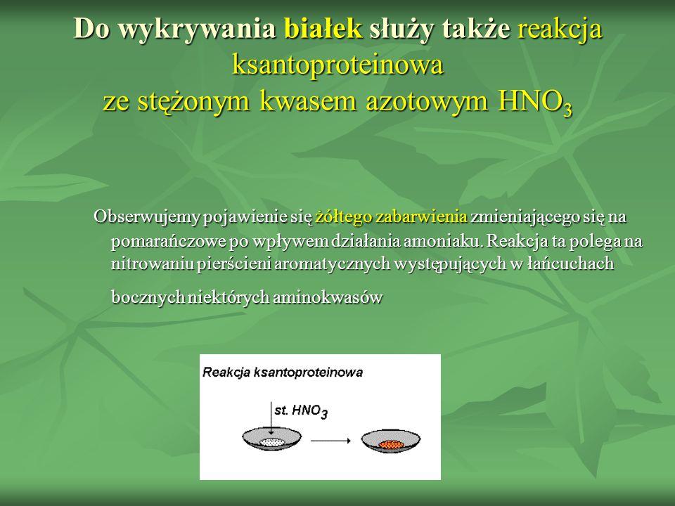 Do wykrywania białek służy także reakcja ksantoproteinowa ze stężonym kwasem azotowym HNO3