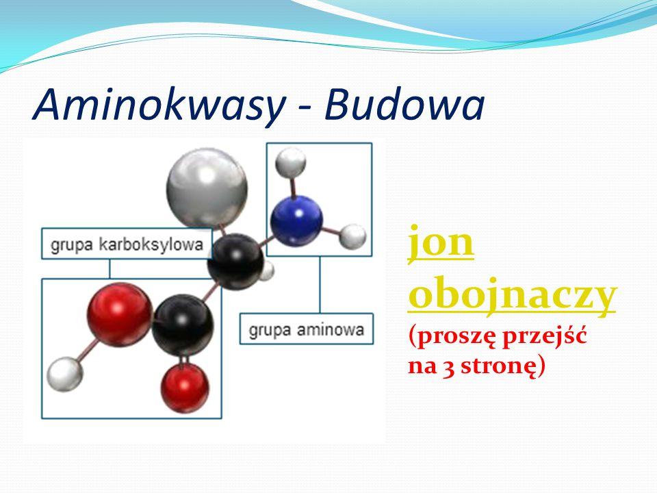 Aminokwasy - Budowa jon obojnaczy (proszę przejść na 3 stronę)