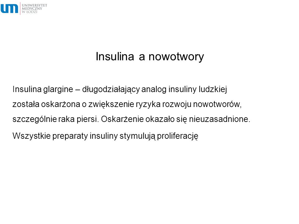 Insulina a nowotwory