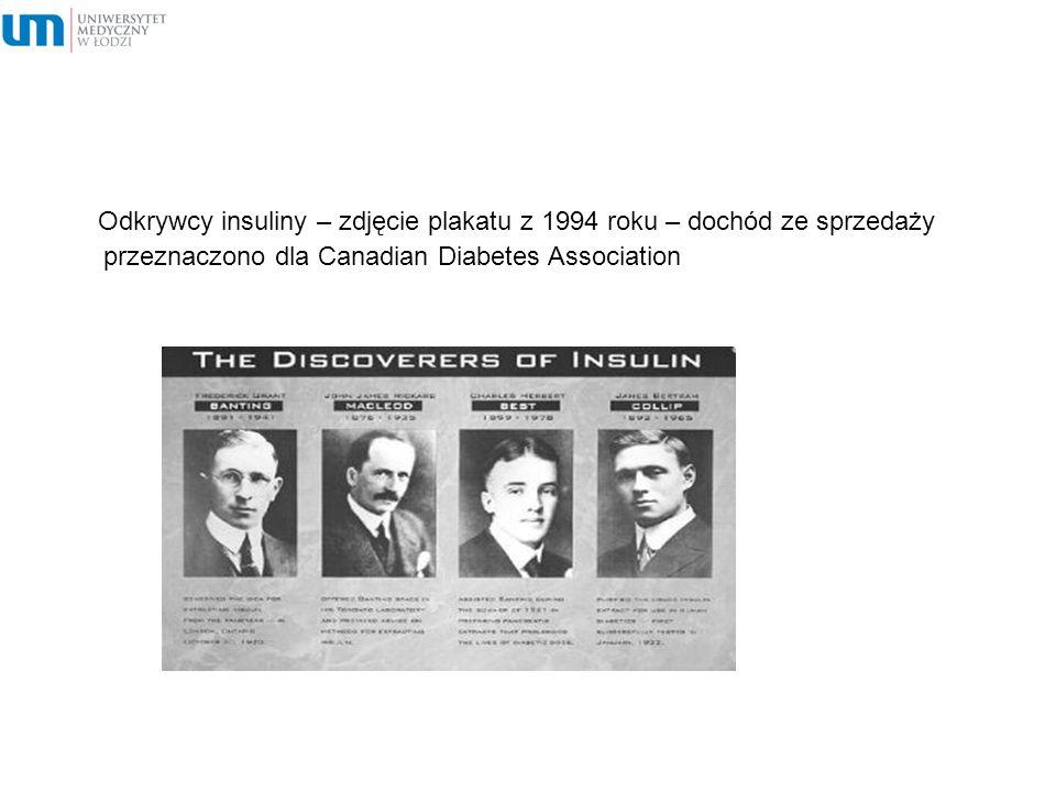 Odkrywcy insuliny – zdjęcie plakatu z 1994 roku – dochód ze sprzedaży przeznaczono dla Canadian Diabetes Association