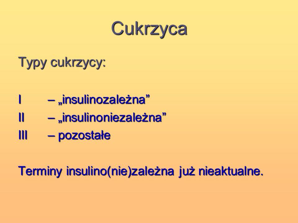 """Cukrzyca Typy cukrzycy: I – """"insulinozależna"""