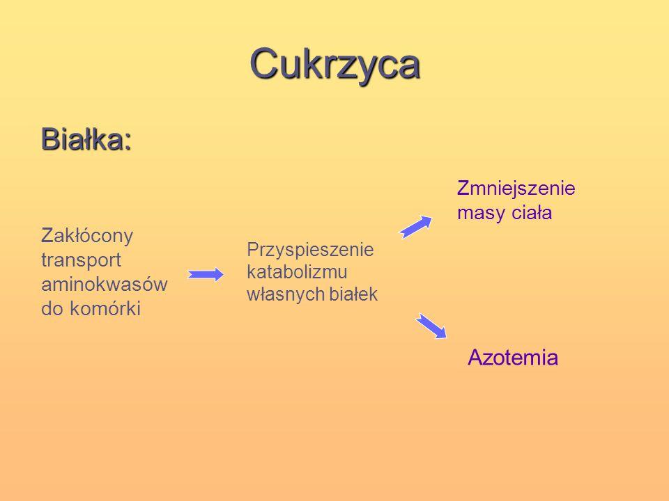 Cukrzyca Białka: Azotemia Zmniejszenie masy ciała