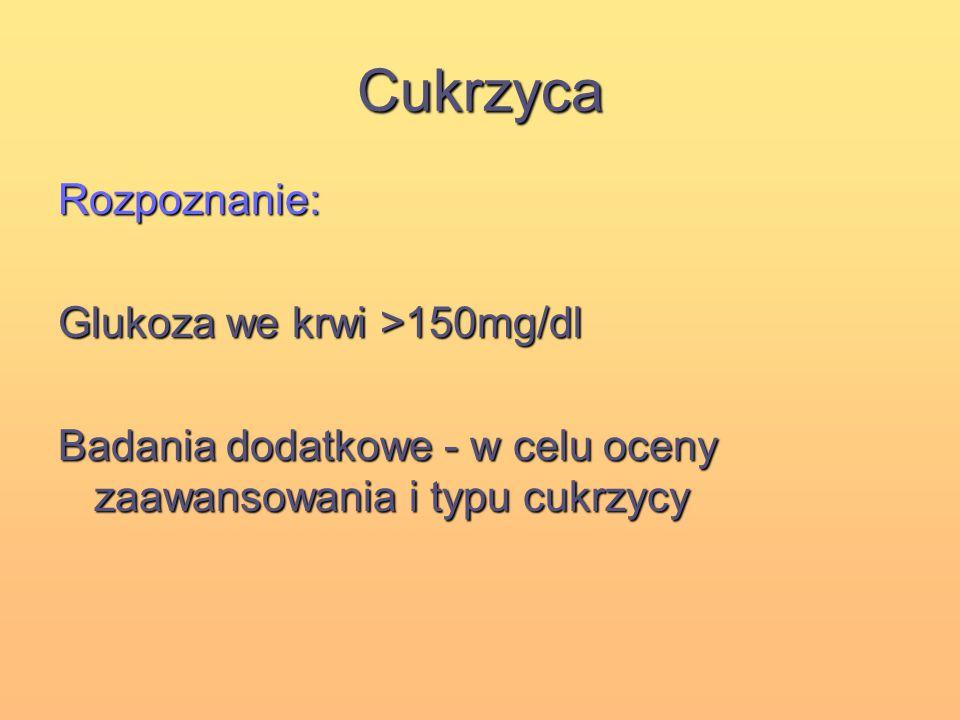 Cukrzyca Rozpoznanie: Glukoza we krwi >150mg/dl