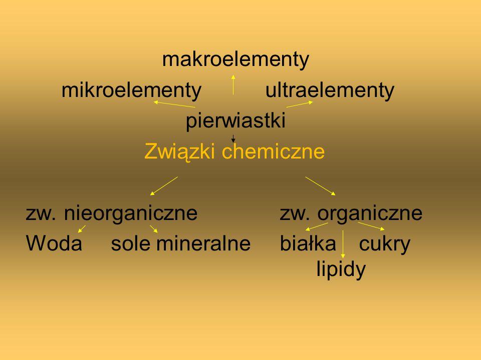 makroelementy mikroelementy ultraelementy. pierwiastki. Związki chemiczne. zw. nieorganiczne zw. organiczne.