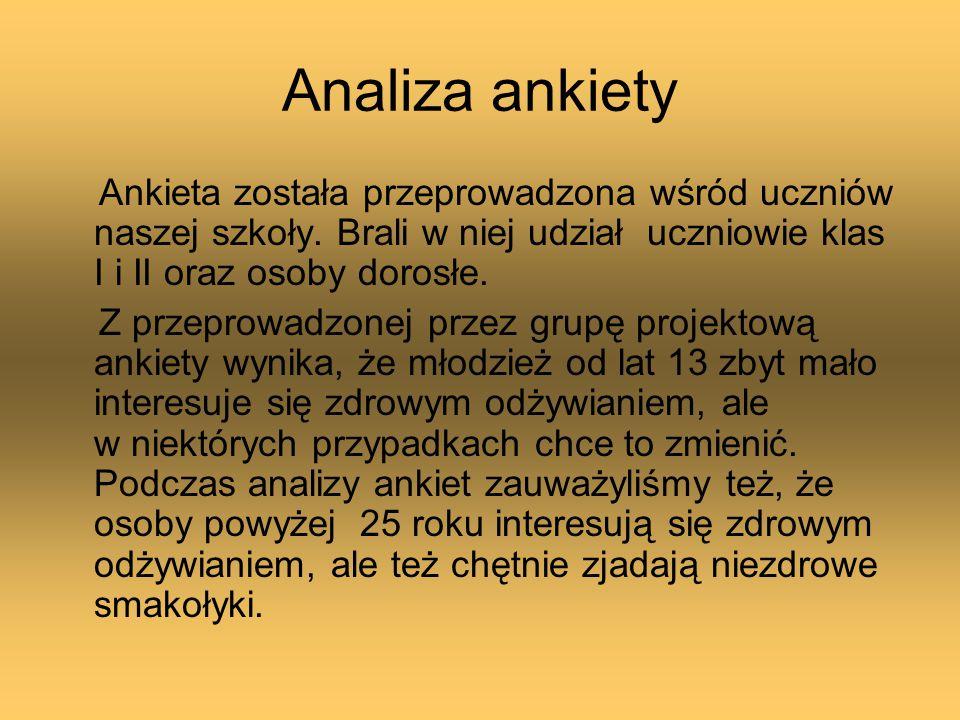 Analiza ankiety Ankieta została przeprowadzona wśród uczniów naszej szkoły. Brali w niej udział uczniowie klas I i II oraz osoby dorosłe.