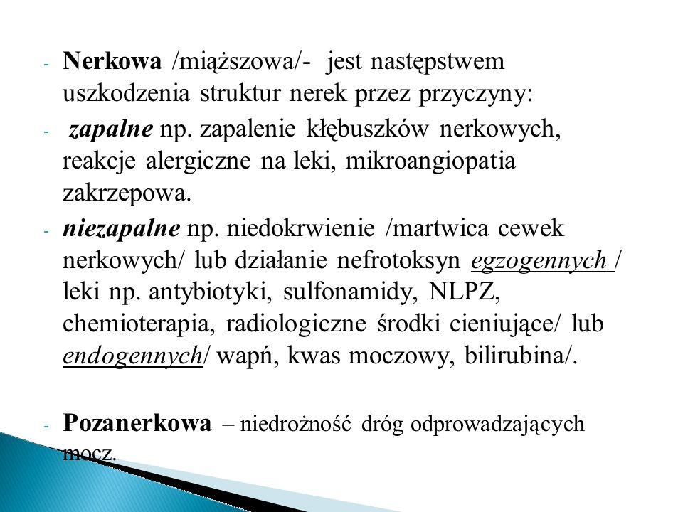 Nerkowa /miąższowa/- jest następstwem uszkodzenia struktur nerek przez przyczyny: