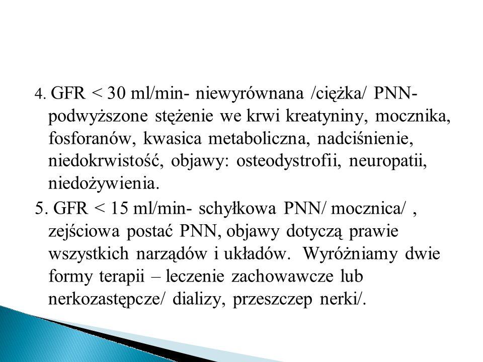 4. GFR < 30 ml/min- niewyrównana /ciężka/ PNN- podwyższone stężenie we krwi kreatyniny, mocznika, fosforanów, kwasica metaboliczna, nadciśnienie, niedokrwistość, objawy: osteodystrofii, neuropatii, niedożywienia.