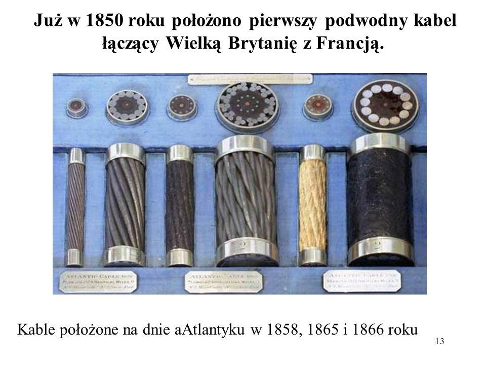 Już w 1850 roku położono pierwszy podwodny kabel łączący Wielką Brytanię z Francją.