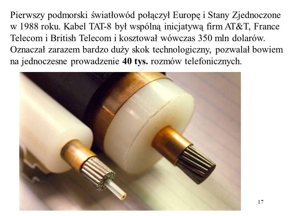 Pierwszy podmorski światłowód połączył Europę i Stany Zjednoczone w 1988 roku. Kabel TAT-8 był wspólną inicjatywą firm AT&T, France Telecom i British Telecom i kosztował wówczas 350 mln dolarów. Oznaczał zarazem bardzo duży skok technologiczny, pozwalał bowiem na jednoczesne prowadzenie 40 tys. rozmów telefonicznych.