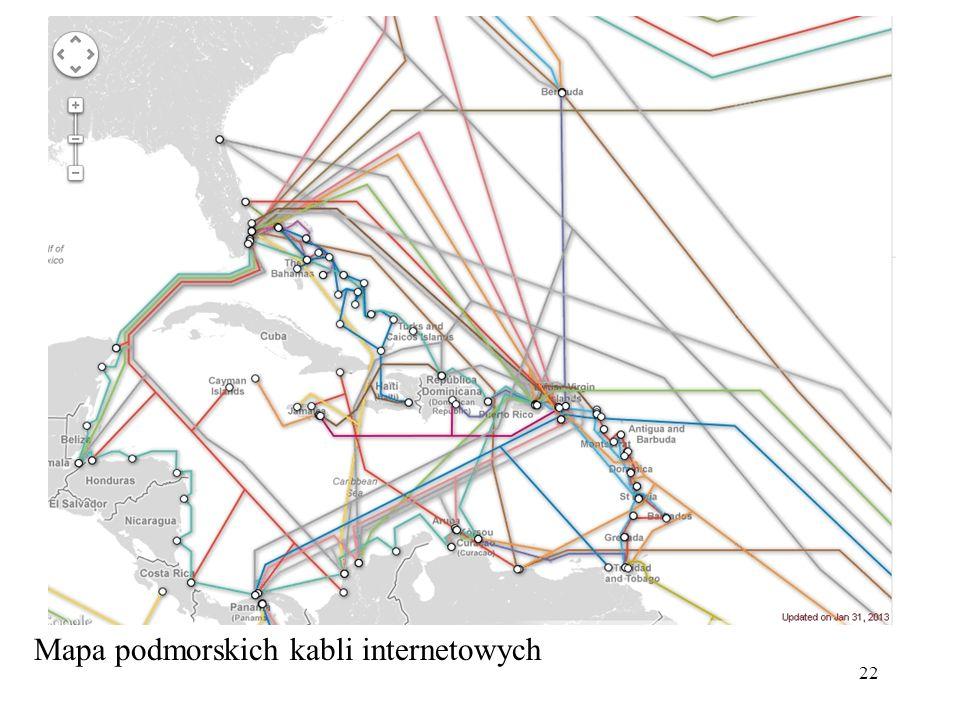 Mapa podmorskich kabli internetowych