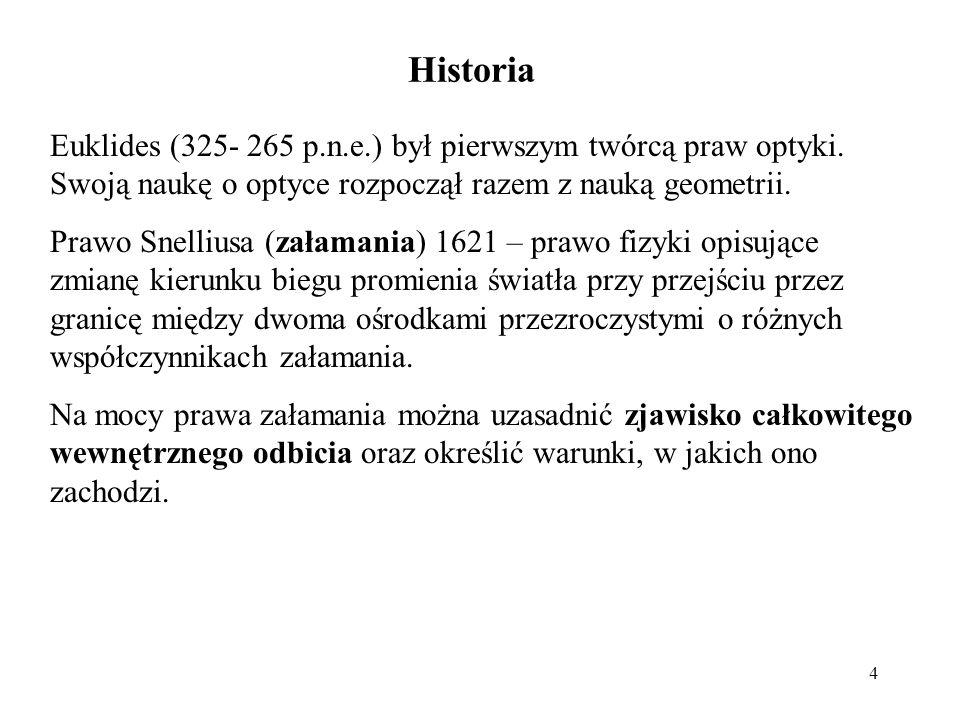 Historia Euklides (325- 265 p.n.e.) był pierwszym twórcą praw optyki. Swoją naukę o optyce rozpoczął razem z nauką geometrii.