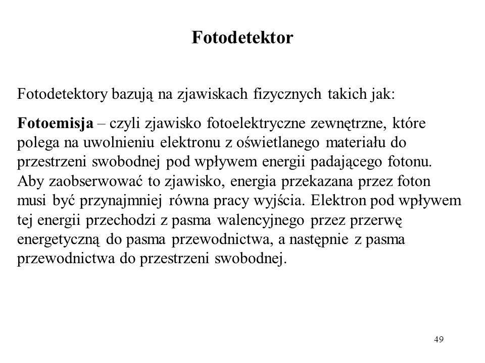 Fotodetektor Fotodetektory bazują na zjawiskach fizycznych takich jak: