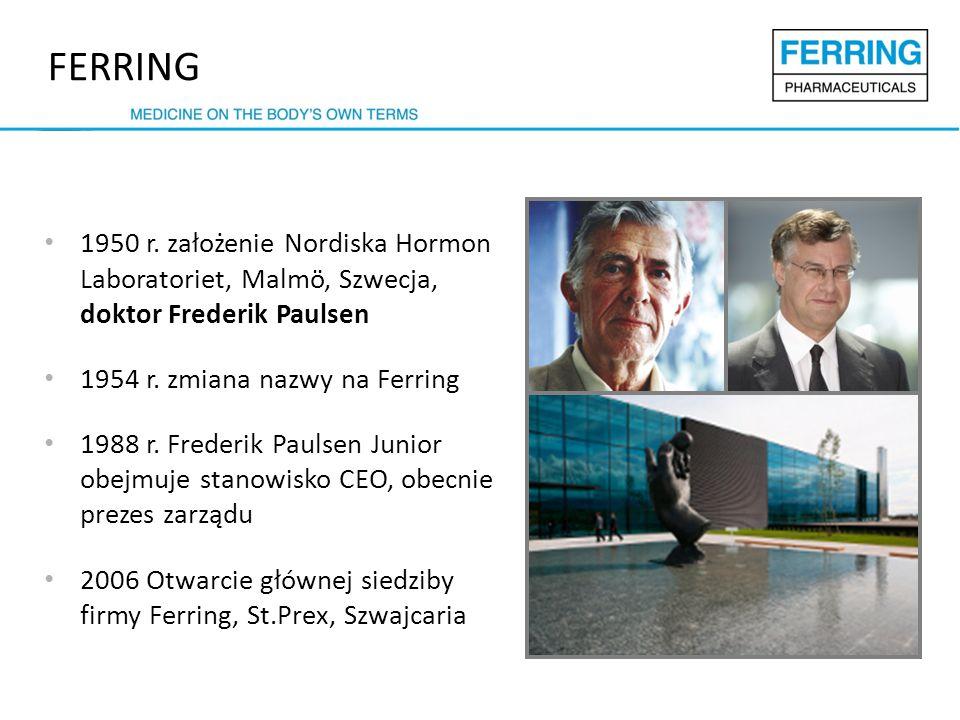 FERRING 1950 r. założenie Nordiska Hormon Laboratoriet, Malmö, Szwecja, doktor Frederik Paulsen. 1954 r. zmiana nazwy na Ferring.