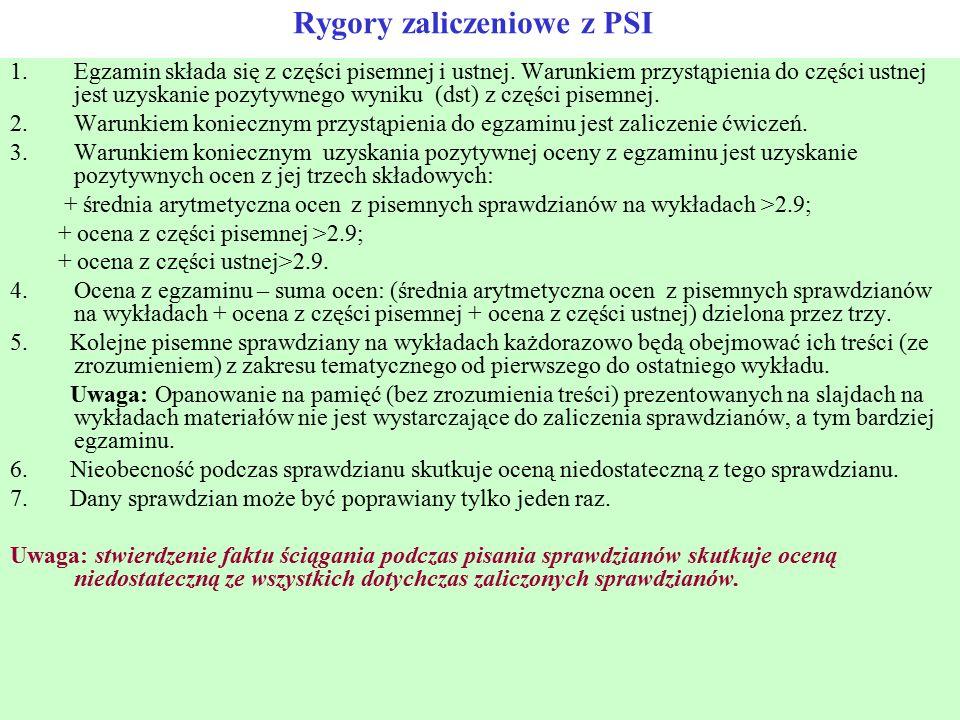 Rygory zaliczeniowe z PSI