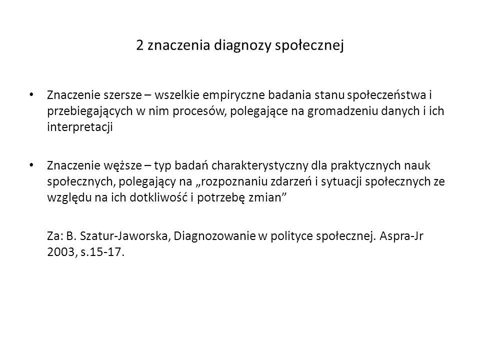 2 znaczenia diagnozy społecznej