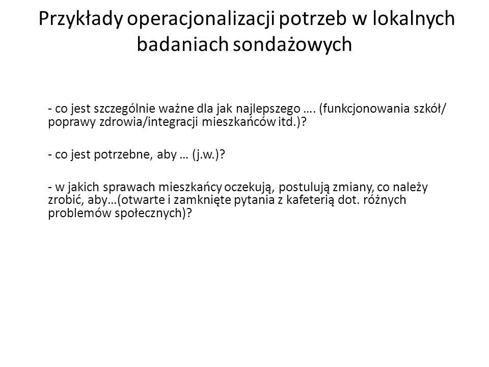Przykłady operacjonalizacji potrzeb w lokalnych badaniach sondażowych