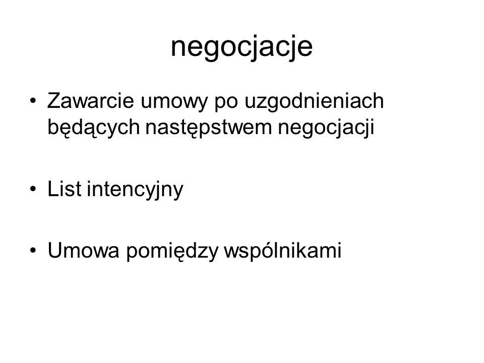 negocjacje Zawarcie umowy po uzgodnieniach będących następstwem negocjacji.