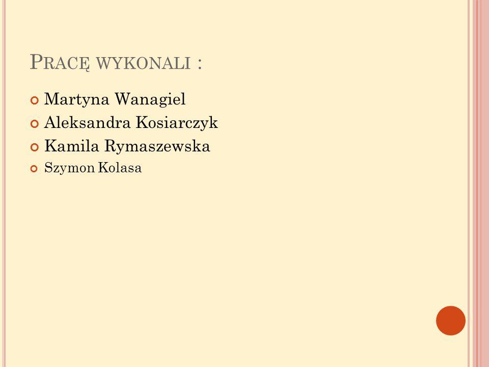 Pracę wykonali : Martyna Wanagiel Aleksandra Kosiarczyk