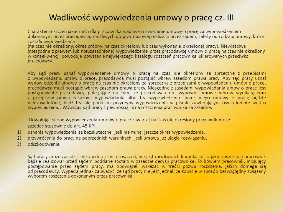 Wadliwość wypowiedzenia umowy o pracę cz. III