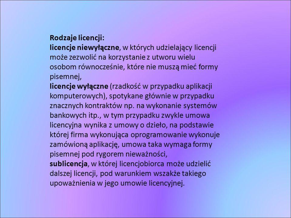 Rodzaje licencji: