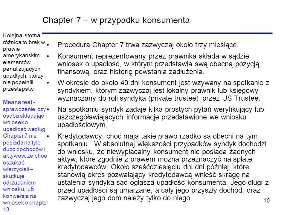 Chapter 7 – w przypadku konsumenta