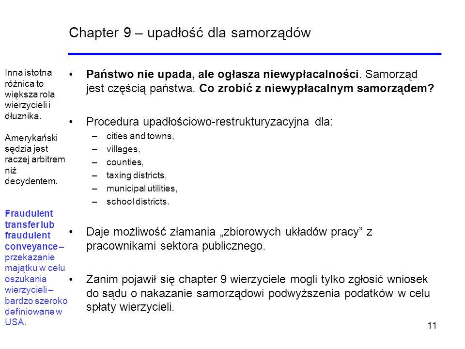 Chapter 9 – upadłość dla samorządów