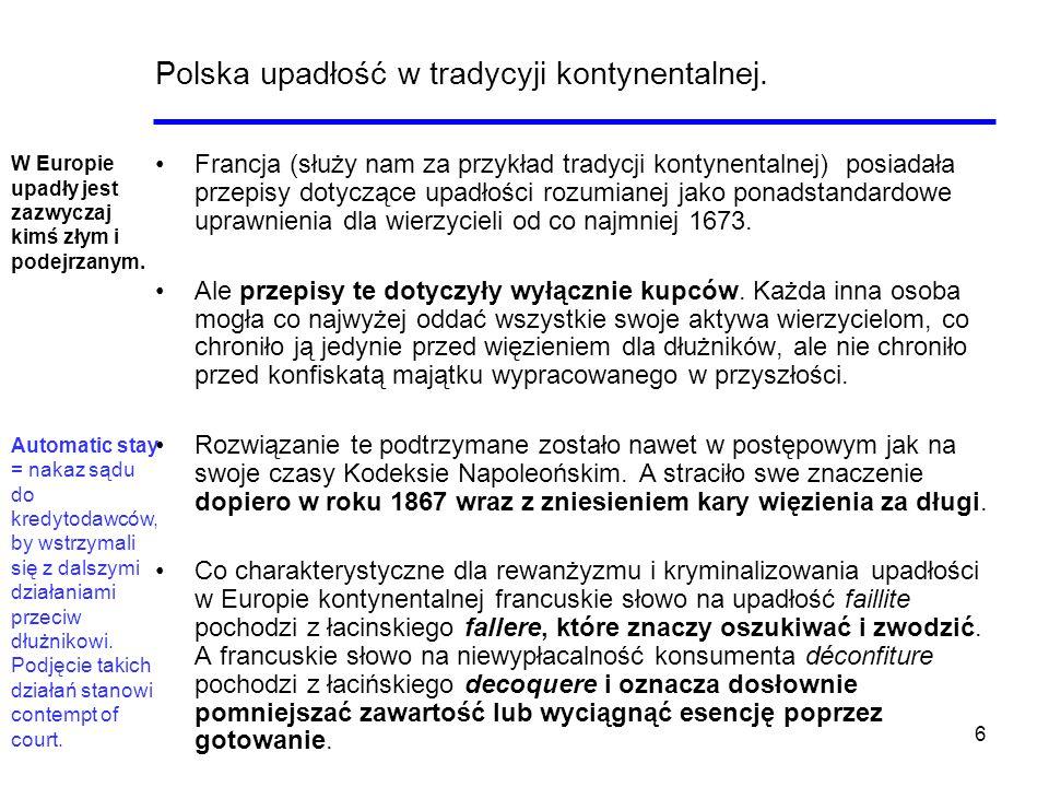 Polska upadłość w tradycyji kontynentalnej.