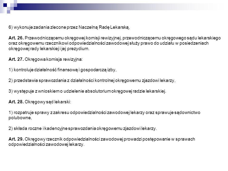 6) wykonuje zadania zlecone przez Naczelną Radę Lekarską, Art. 26
