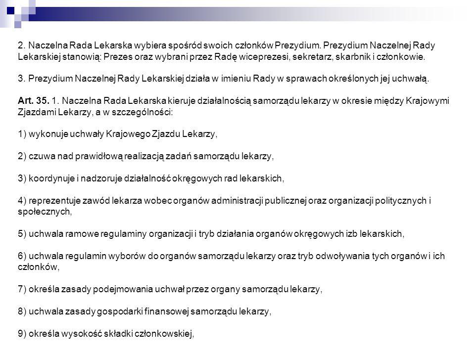 2. Naczelna Rada Lekarska wybiera spośród swoich członków Prezydium