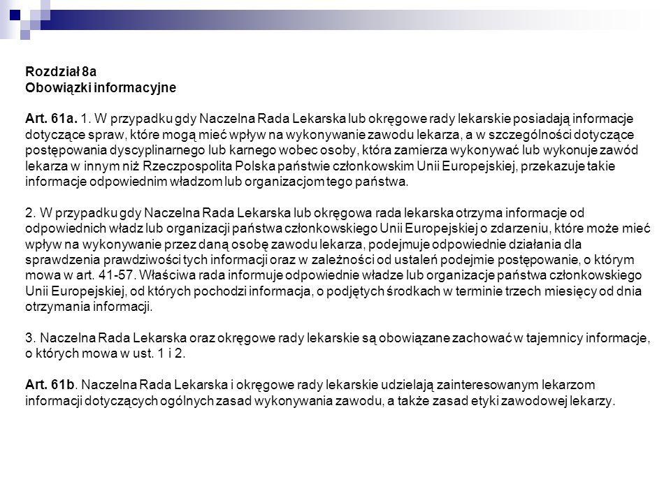 Rozdział 8a Obowiązki informacyjne Art. 61a. 1