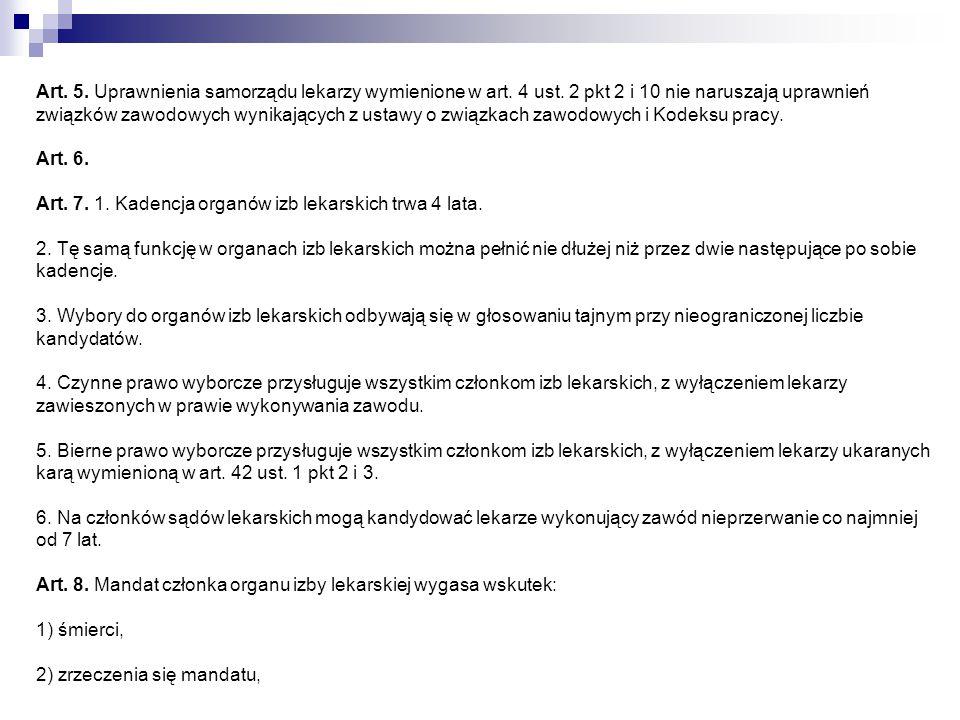 Art. 5. Uprawnienia samorządu lekarzy wymienione w art. 4 ust