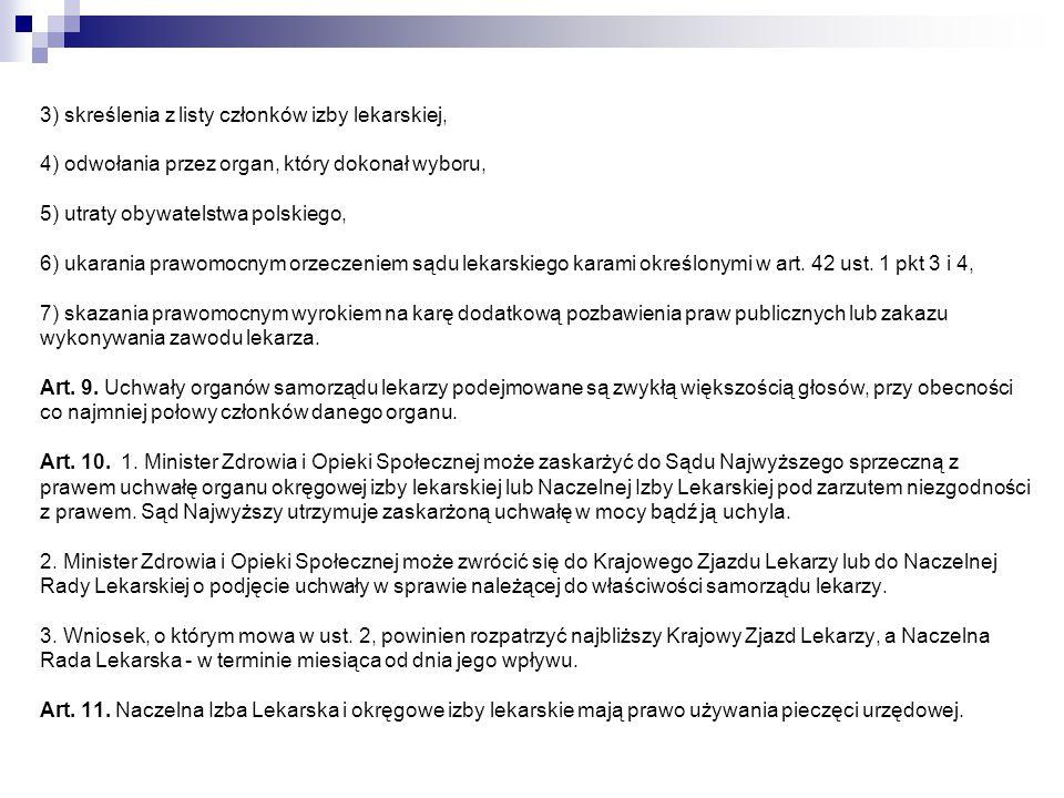 3) skreślenia z listy członków izby lekarskiej, 4) odwołania przez organ, który dokonał wyboru, 5) utraty obywatelstwa polskiego, 6) ukarania prawomocnym orzeczeniem sądu lekarskiego karami określonymi w art.