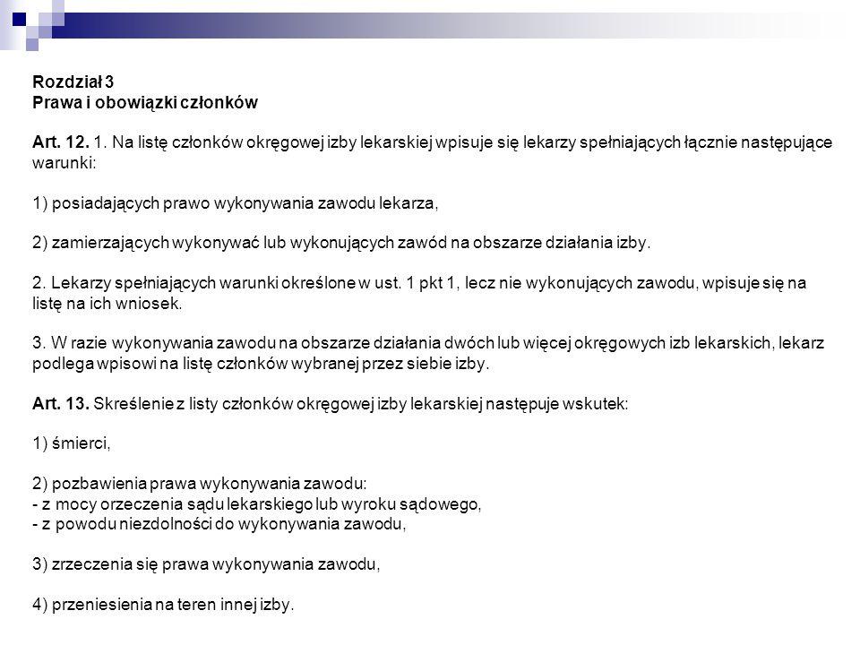 Rozdział 3 Prawa i obowiązki członków Art. 12. 1