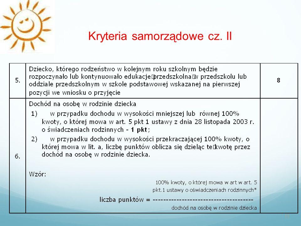 Kryteria samorządowe cz. II