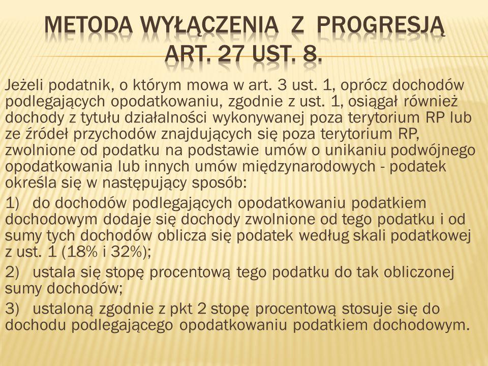 Metoda wyłączenia z progresją art. 27 ust. 8.