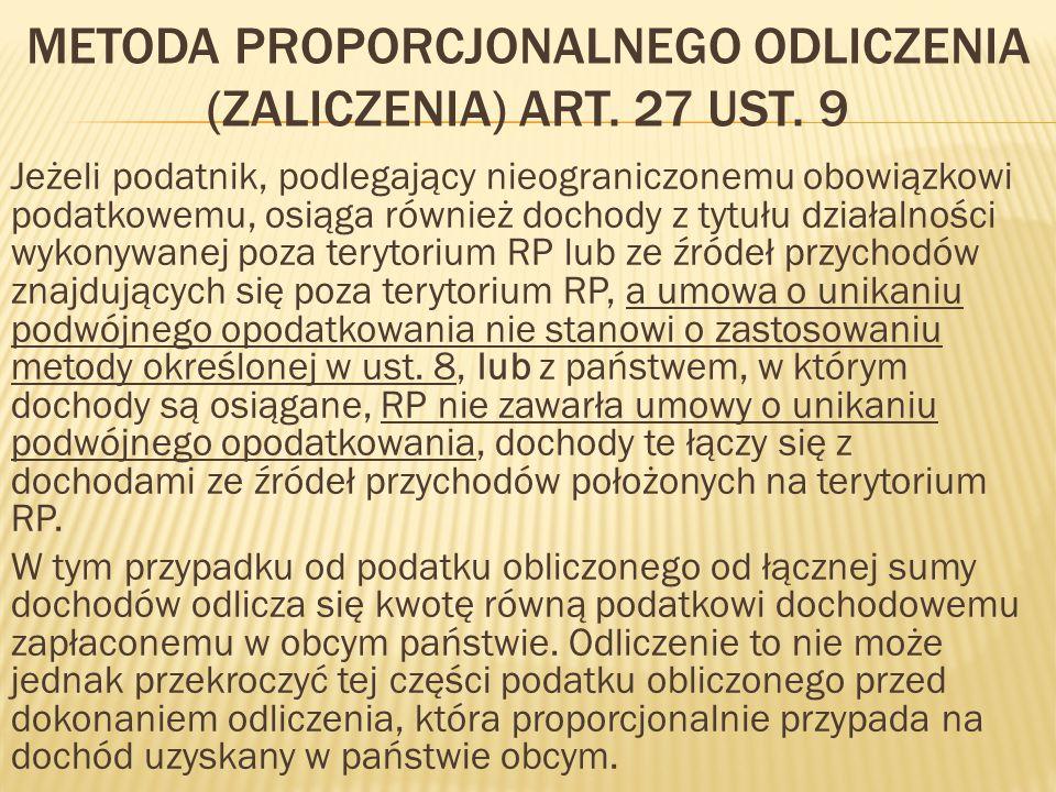 metoda proporcjonalnego odliczenia (zaliczenia) art. 27 ust. 9