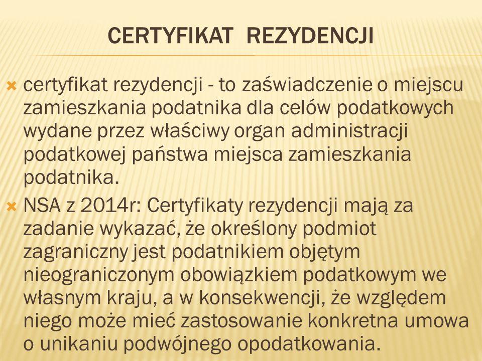 certyfikat rezydencji