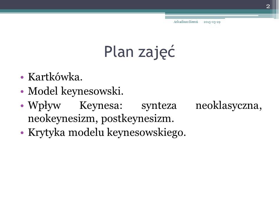 Plan zajęć Kartkówka. Model keynesowski.