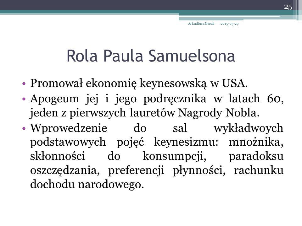 Rola Paula Samuelsona Promował ekonomię keynesowską w USA.