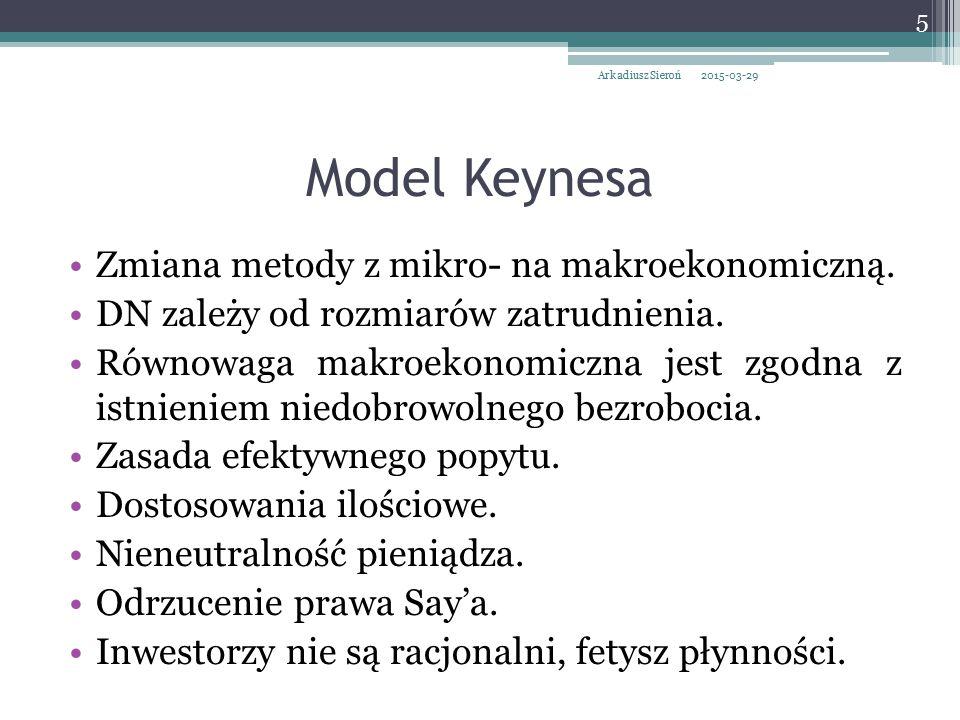 Model Keynesa Zmiana metody z mikro- na makroekonomiczną.